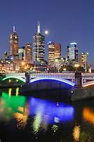 Melbourne skyline with the Yarra River, Victoria, Australia