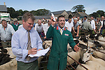 Priddy Sheep Fair auctioneer and assistant Somerset Uk 2009 . Making a salew taking a bid.