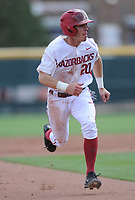 NWA Democrat-Gazette/ANDY SHUPE<br />Arkansas second baseman Carson Shaddy advances to third against Georgia Saturday, April 15, 2017, during the second inning at Baum Stadium in Fayetteville. Visit nwadg.com/photos to see more photographs from the game.