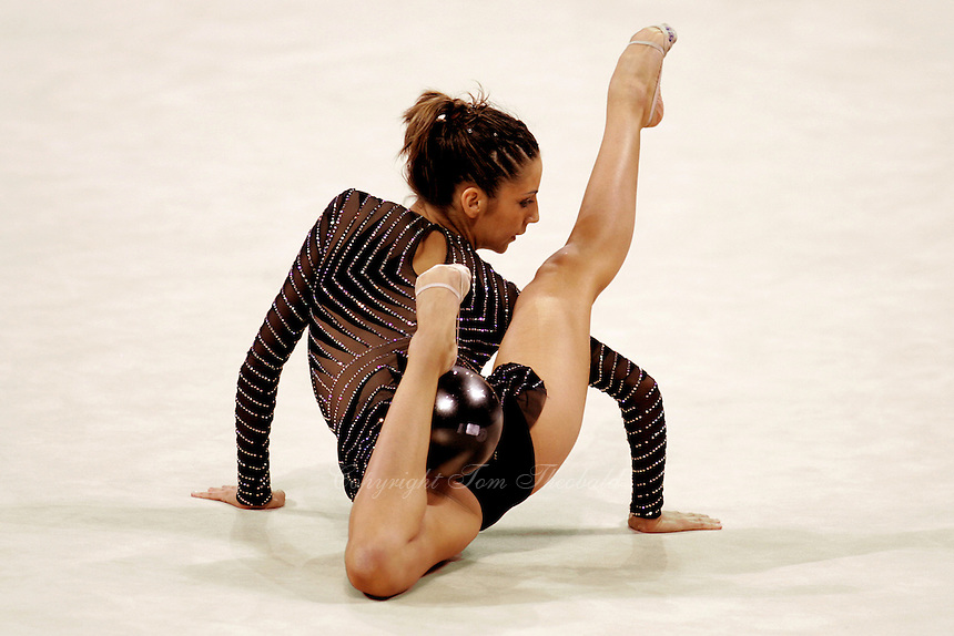 Almudena Cid of Spain finishes her ball routine  at 2004 Athens Olympic Games during All-Around final on August 29, 2006 at Athens, Greece. (Photo by Tom Theobald)