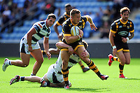 Jimmy Gopperth of Wasps takes on the Yorkshire Carnegie defence. Pre-season friendly match, between Wasps and Yorkshire Carnegie on August 21, 2016 at the Ricoh Arena in Coventry, England. Photo by: Patrick Khachfe / JMP