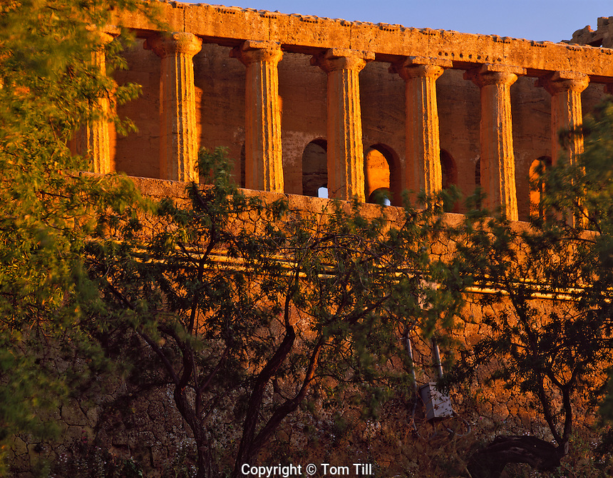 Temple of the Concord at sunset, Valley of the Temples, Island of Sicily, Italy