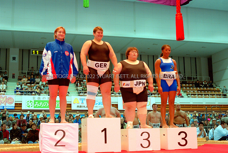 10/26/2001--Hirosaki, Aomori Prefecture, Japan..Sandra Koppemn Germany  wins the the World internationl sumo tournament...All photographs ©2003 Stuart Isett.All rights reserved.This image may not be reproduced without expressed written permission from Stuart Isett.