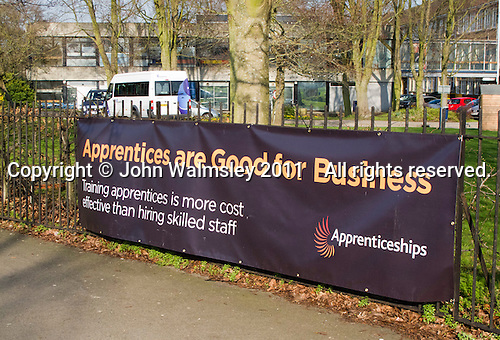 Banner promoting Apprenticeships, Further Education College, Guildford, Surrey, UK.