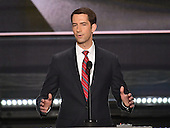 United States Senator Tom Cotton (Republican of Arkansas) makes remarks at the 2016 Republican National Convention held at the Quicken Loans Arena in Cleveland, Ohio on Monday, July 18, 2016.<br /> Credit: Ron Sachs / CNP<br /> (RESTRICTION: NO New York or New Jersey Newspapers or newspapers within a 75 mile radius of New York City)