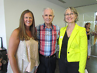 Kristin Guyton, Dr. J.B. Hayes and Monika Fischer-Massie take a minute at the Northwest Arkansas Free Health Clinic special announcement event.