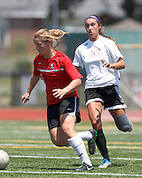 Aztec MA midfielder Caroline Dixon (14) dribbles. In a Women's Premier Soccer League (WPSL) match, Aztec MA defeated CFC Passion, 4-0, at North Reading High School Stadium on July 1, 2012.