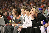 6 April 2008: Stanford Cardinal assistant coach Bobbie Kelsey, associate head coach Amy Tucker, head coach Tara VanDerveer, and assistant coach Kate Paye during Stanford's 82-73 win against the Connecticut Huskies in the 2008 NCAA Division I Women's Basketball Final Four semifinal game at the St. Pete Times Forum Arena in Tampa Bay, FL.