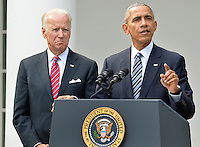 United States President Barack Obama makes remarks, as Vice President Joe Biden listens, on Republican President-elect Donald J. Trump's presidential victory over Former Secretary of State Hillary Clinton, at the White House, November 9, 2016, in Washington, DC. Obama invited Trump to visit the White House and promised a smooth transition.              <br /> Credit: Mike Theiler / Pool via CNP /MediaPunch