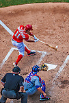 26 July 2013: Washington Nationals third baseman Ryan Zimmerman connects during a game against the New York Mets at Nationals Park in Washington, DC. The Mets shut out the Nationals 11-0 in the first game of their day/night doubleheader. Mandatory Credit: Ed Wolfstein Photo *** RAW (NEF) Image File Available ***