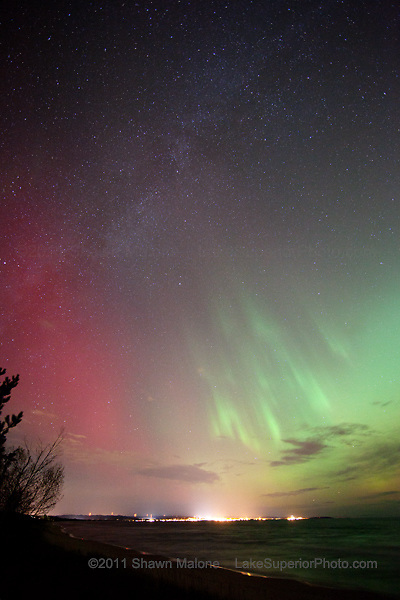 Aurora Borealis Northern Lights over Lake Superior in the Upper Peninsula of Michigan Marquette aurora borealis northern lights in the upper peninsula of michigan