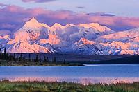 Alpenglow on Mt Brooks of the Alaska Range, Wonder Lake, Denali National Park, Alaska