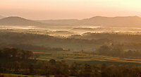 Fog sets through the landscape and mountainside in the early morning hours in Albemarle County. Photo/ Andrew Shurtleff