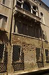 Italian building with stone balcony in Venice