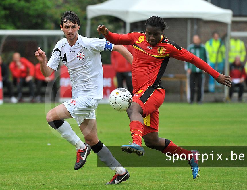 Georgia U19 - Belgium U19 : Nathan Kabasele (9) and Nika Sandokhadze (4)<br /> foto DAVID CATRY / Nikonpro.be