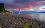 Idaho, North, Bonner County.Lake Pend Oreille near Hope Idaho under the pink clouds of an autumn twilight.