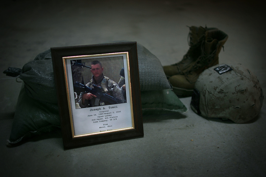 Memorial Service for Marine Cpl. Joseph A. Tomci killed August 2, 2006 in Ramadi, Iraq during his service there with Lima Co. 3rd Battalion 8th Marines (3/8). Cpl. Tomci was killed when he stepped on a pressure-activated IED. His death was the 16th for the battalion.