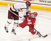 Michael Kim (BC - 4), Patrick Harper (BU - 21) - The visiting Boston University Terriers defeated the Boston College Eagles 3-0 on Monday, January 16, 2017, at Kelley Rink in Conte Forum in Chestnut Hill, Massachusetts.