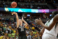 DENVER, CO--Toni Kokenis fires from outside against Baylor during the semifinals of the 2012 NCAA Women's Final Four in Denver, CO. The Cardinal fell to the Bears 47-59.