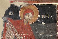 Detail of a female figure, possibly the Virgin Mary, from a fresco, painted c. 1649, in the Church of Saints Constantine and Helen, built 1644, inside Berat Castle or Kalaja e Beratit, in Berat, South-Central Albania, capital of the District of Berat and the County of Berat. Picture by Manuel Cohen