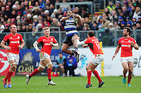 Aled Brew of Bath Rugby claims the ball in the air. Aviva Premiership match, between Bath Rugby and Saracens on December 3, 2016 at the Recreation Ground in Bath, England. Photo by: Patrick Khachfe / Onside Images