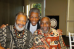 """Andre De Shields """"Marshall Lincoln Kramer III"""" - Another World (C) poses with Count Stovall (AMC, ATWT, Doctors) and actor Bill Cobbs at The National Black Theatre Festival with a week of plays, workshops and much more with an opening night gala of dinner, awards presentation followed by Black Stars of the Great White Way followed by a celebrity reception. It is an International Celebration and Reunion of Spirit. (Photo by Sue Coflin/Max Photos)"""