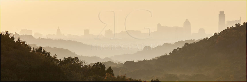 There is a scenic viewpoint along 360 west of Austin. On this morning, I was returning from shooting at Pennybacker Bridge when I noticed the fog and outline of the Austin skyline I turned around and captured a few images of the layered hills and downtown Austin.