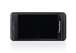 Blackberry Z10 smartphone with blank screen lying on its side isolated on white background with clipping path