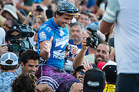 Pipeline, North Shore of Oahu, Hawaii Friday December 19 2014) Julian Wilson (AUS) is congratulated by Medina (BRA) after the scores were announced.- The final stop of the 2014  World Championship Tour, the Billabong Pipe Masters in Memory of Andy Irons, was  ccompleted today in NW double overhead surf. <br /> Gabriel Medina (BRA) became the first ever Brazilian World Champion after both rival contenders , Kelly Slater (USA) and Mick Fanning (AUS) were eliminated from the contest. Medina went onto finish 2nd overall behind Julian Wilson (AUS). <br /> In the overlapping heat format Wilson surf three consequent heats and still had enough entry to take out the 30 minute final.<br /> By winning the final Wilson also won the covered Vans Triple Crown of Surfing for best overall performance through the whole Triple Crown.<br /> <br /> The Billabong Pipe Masters in Memory of Andy Irons will determine this year&rsquo;s world surfing champion as well as those who qualify for the elite tour in 2015. As the third and final stop on the Vans Triple Crown of Surfing Series  the event will also determine the winner of the revered three-event leg.<br /> <br />  Photo: joliphotos.com