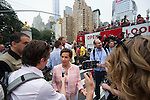 Christina Figueres, head of the United Nations Framework Convention on Climate Change (UNFCCC) speaks with the media before the march in New York. More than 300,000 march in solidarity for Climate accountability, at the People's Climate March on September 21, 2014. (Credit: Robert van Waarden)