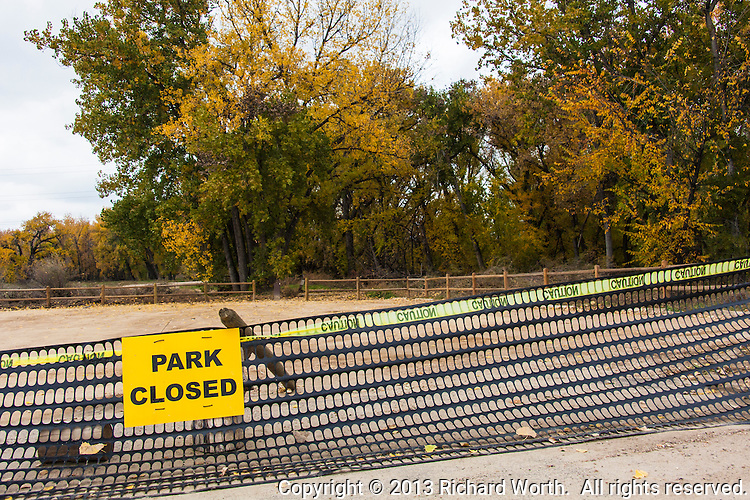 The parking area at the Heatherwood Trailhead along Boulder Creek, Boulder, Colorado, remains closed, a month after the devastating September 2013 flooding.