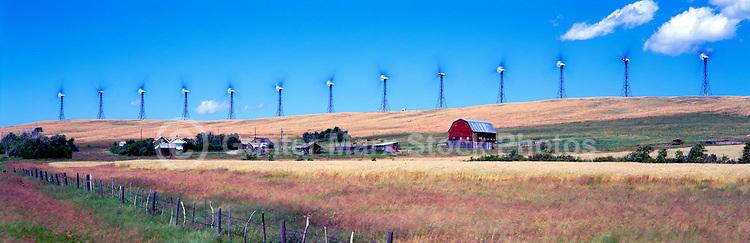 Wind Turbines generating Renewable Wind Energy Power on Farmland / Ranchland - Industry near Pincher Creek, Southern Alberta (AB), Canada, Canadian Rocky Mountain Foothills