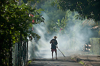 Mauritius. Sweeping a street and burning leaves.