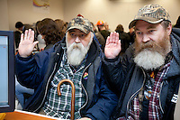 One month after Washington State voters approved the state's marriage equality law in Ref. 74, same-sex couples get marriage licenses for the first time on December 6th, 2012. At around 1:30am, Larry Duncan, 56, left, and Randy Shepherd, 48, from North Bend, Wash. got their marriage license. The two plan to wed on December 9th, the first day it is possible for them to wed in Washington State. They have been together for 11 years.