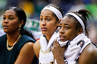 SOUTH BEND, IN - FEBRUARY 11: Skylar Diggins #4 of the Notre Dame Fighting Irish (center) seen on the bench during the game against the Louisville Cardinals at Purcel Pavilion on February 11, 2013 in South Bend, Indiana. Notre Dame defeated Louisville 93-64. (Photo by Michael Hickey/Getty Images) *** Local Caption *** Skylar Diggins
