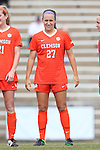25 October 2015: Clemson's Gabby Byorth. The University of North Carolina Tar Heels hosted the Clemson University Tigers at Fetzer Field in Chapel Hill, NC in a 2015 NCAA Division I Women's Soccer game. UNC won the game 1-0.