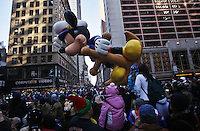 USA, NEW YORK, November 24, 2011.A Mickey Mouse balloon floats in 7 Avenue while American celebrated the Macy's Thanksgiving day parade in New York, November 24,2011. VIEWpress / Kena Betancur.The Macy's parade is considered by many to be the official start of the holiday season. Balloons, bands and dignitaries trooped through midtown Manhattan Thursday morning for the 85th annual Macy's Thanksgiving Day Parade. Media Reported.
