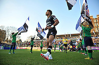 Anthony Watson and the rest of the Bath Rugby team run out onto the field. European Rugby Challenge Cup match, between Bath Rugby and Pau (Section Paloise) on January 21, 2017 at the Recreation Ground in Bath, England. Photo by: Patrick Khachfe / Onside Images