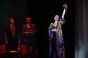 Edinburgh, UK. 09.08.2012. Opera North presents THE MAKROPULOS CASE, by Janacek, at the Festival Theatre, as part of the Edinburgh International Festival. Picture shows: James Creswell (as Dr Kolenaty), Mrk le Brocq (as Vitek) and Ylva Kihlberg (as Emilia Marty).