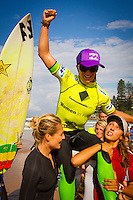 """DEE WHY, Sydney NSW/AUS (Saturday, April 21, 2012) Courtney Conlogue (USA) being carried up the ebeach by Stephanie Gilmore (AUS) and Sally Fitzgibbons (AUS). The Finals of the 2012 Commonwealth Bank Beachley Classic were completed today with Courtney Conlogue (USA) defeating Malia Manuel (HAW) for her first elite women's tour event win. Both finalist had never made it as far before in an ASP World Tour event. The surf was clean, with two-to-three foot (1.5 meter) waves on offer for the Top 17 female surfers in the world to battle for the richest prize purse on the ASP Womens World Championship Tour.. .Stop No. 4 of 7 on the 2012 ASP Womens World Championship Tour, the Commonwealth Bank Beachley Classic is run by seven-time ASP Womens World Champion Layne Beachley, and is in its seventh year.. .""""There are a lot of sevens in my life at the moment,"""" Beachley said. """"I'm so proud I've been able to run this event for seven years. I'm really appreciative of the Commonwealth Bank's support and am thrilled with the level of women's surfing. It's Finals day today. We've had a decrease in swell, but the girls are incredible at what they do and I'm sure they'll be able to put on a great show today. I'll be getting in the water later in the day for the celebrity challenge, and the Nikon Expression Session."""" .Manuel defeated Stephanie Gilmore (AUS) in the quarterfinals and Conlogue defeated Sally Fitzgibbons (AUS) also in the quarterfinals. Gilmore remains number one on the world tour ratings with Fitzgibbons in second place. Photo: joliphotos.com"""