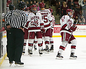 John Marino (Harvard - 12), Ryan Donato (Harvard - 16) - The Harvard University Crimson defeated the visiting Cornell University Big Red on Saturday, November 5, 2016, at the Bright-Landry Hockey Center in Boston, Massachusetts.