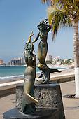Neptune and Nereid sculpture, sculptor C. Espino, The Malecon, Puerto Vallarta, Jalisco, Mexico