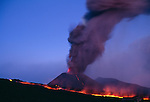 Ash plume and lava flows, Mt. Etna, Sicily, Italy