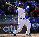 CHICAGO - APRIL  05:  Marlon Byrd #24 of the Chicago Cubs hits an RBI double in the seventh inning against the Arizona Diamondbacks on April 5, 2011 at Wrigley Field in Chicago, Illinois.  The Cubs defeated the Diamondbacks 6-5.  (Photo by Ron Vesely) Subject: Marlon Byrd