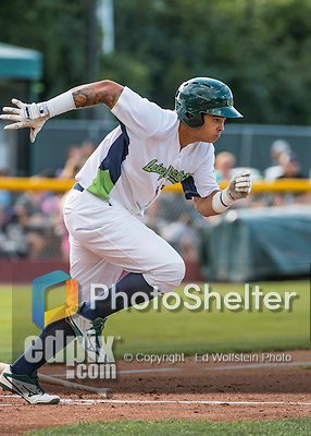 31 July 2016: Vermont Lake Monsters outfielder Jhonny Rodriguez in action against the Connecticut Tigers at Centennial Field in Burlington, Vermont. The Lake Monsters edged out the Tigers 4-3 in NY Penn League action.  Mandatory Credit: Ed Wolfstein Photo *** RAW (NEF) Image File Available ***