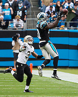 The Carolina Panthers played the New Orleans Saints for supremacy in the NFC South.  December 22, 2013 at Bank of America Stadium.  The Panthers scored the winning touchdown with 23 seconds left in the game to give them the opportunity to clinch the NFC South with a win next week.  Carolina Panthers wide receiver Brandon LaFell (11) tries to catch a pass that is just out of his reach.