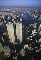 Looking Down, Aerial View, Buildings in Distance, Manhattan, New York City, New York, USA