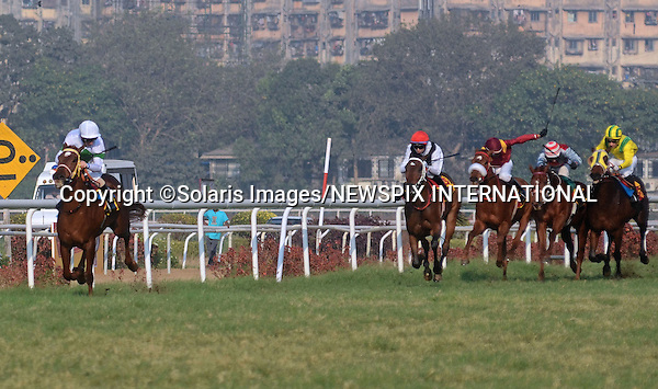 """Mumbai, India-05/02/2012: MARTIN DWYER WINS SIGNATURE PREMIUM INDIAN DERBY.With the weather forcing the postponement of several races in Britain, Liverpool-born Martin Dwyer's decision to ply his trade in India was a wise one..Riding on """"In The Spotlight"""", the jockey won the 60th Indian Derby run at the Royal Western India Turf Club,Mumbai..Already successful in the Calcutta Oaks, 1,000 Guineas and Calcutta Derby under Dwyer, In The Spotlight stamped her class on India's premier Classic, routing a high-class field by upwards of seven lengths...Mandatory Photo Credit: ©Vipin Pawar-SolarisImages/NEWSPIX INTERNATIONAL..**ALL FEES PAYABLE TO: """"NEWSPIX INTERNATIONAL""""**..PHOTO CREDIT MANDATORY!!: NEWSPIX INTERNATIONAL(Failure to credit will incur a surcharge of 100% of reproduction fees)..IMMEDIATE CONFIRMATION OF USAGE REQUIRED:.Newspix International, 31 Chinnery Hill, Bishop's Stortford, ENGLAND CM23 3PS.Tel:+441279 324672  ; Fax: +441279656877.Mobile:  0777568 1153.e-mail: info@newspixinternational.co.uk"""
