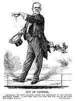 """Out of Control. Lord Rhondda. """"My next illusion, ladies and gentleman, is the one-and-ninepenny rabbit. I now drop that sum into the hat, and in its place the rabbit will - """" [Rabbit disappears. (Minister of Food Control Lord Rhonnda as an illusionist during WW1)"""