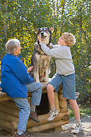 Tourists enjoy Alaska sled dog at Mary Shields Tails of the Trail, Fairbanks, Alaska